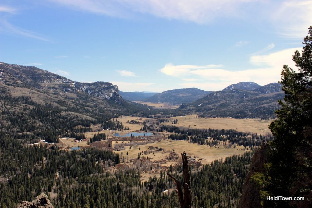 R is for Road Trip. Wolf Creek Pass Overlook. Looking towards Pagosa Springs. HeidiTown.com